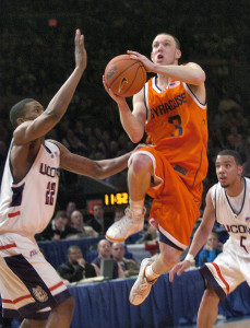 Current Syracuse Assistant Coach Gerry McNamara thrilled Syracuse fans with his clutch play over his four years which peaked in the 2006 Big East Tournament.