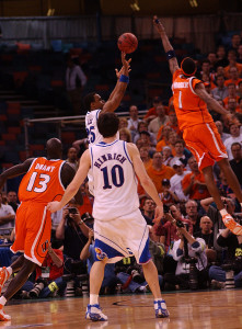 Hakim Warrick leaps to block the 3-point shot attempt of Michael Lee in the 2003 NCAA Championship game.