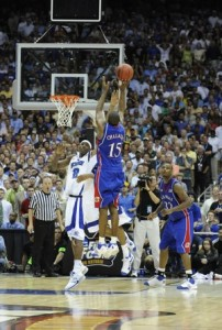 Mario Chalmers knocked down this epic 3-pointer to force overtime where Kansas went on to beat Memphis in the 2008 NCAA Championship Game.