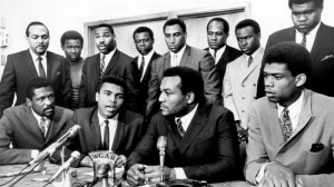 Willie Davis (top row, third from right) was among a well known group of black athletes who spoke out about social issues in the 1960s.